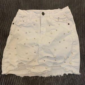 Machine White Pearls Skirt